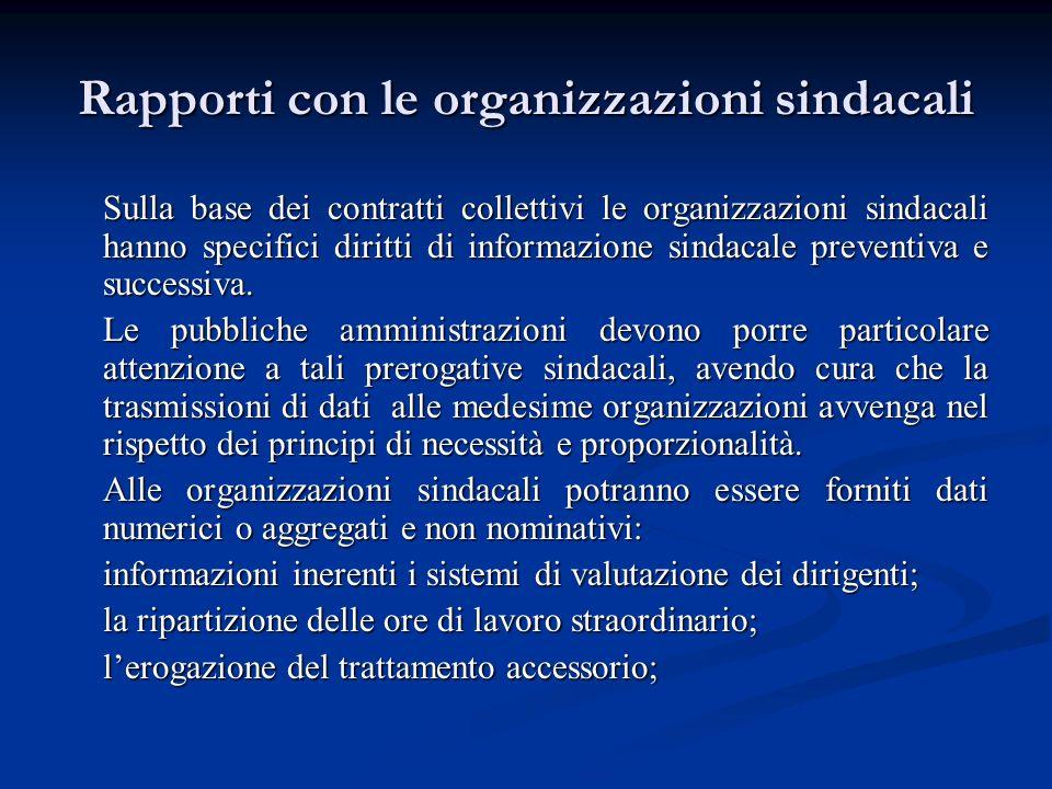 Rapporti con le organizzazioni sindacali Sulla base dei contratti collettivi le organizzazioni sindacali hanno specifici diritti di informazione sinda