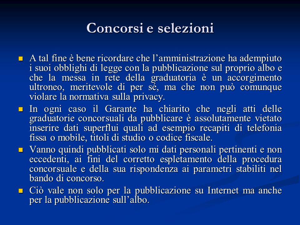 Concorsi e selezioni A tal fine è bene ricordare che lamministrazione ha adempiuto i suoi obblighi di legge con la pubblicazione sul proprio albo e ch