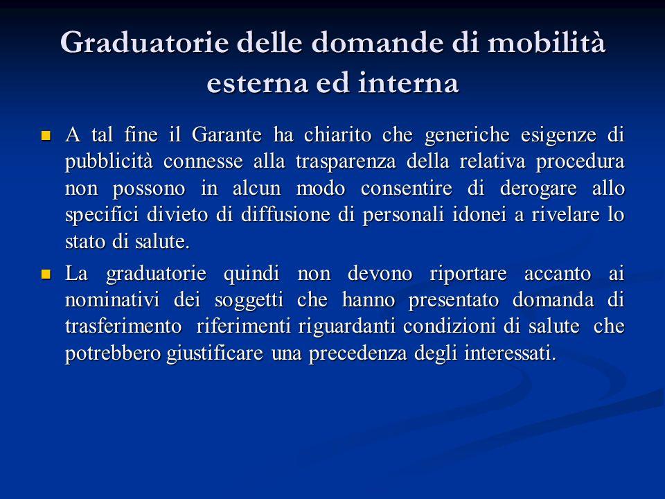 Graduatorie delle domande di mobilità esterna ed interna A tal fine il Garante ha chiarito che generiche esigenze di pubblicità connesse alla traspare