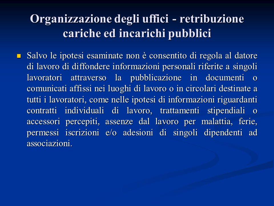 Organizzazione degli uffici - retribuzione cariche ed incarichi pubblici Salvo le ipotesi esaminate non è consentito di regola al datore di lavoro di