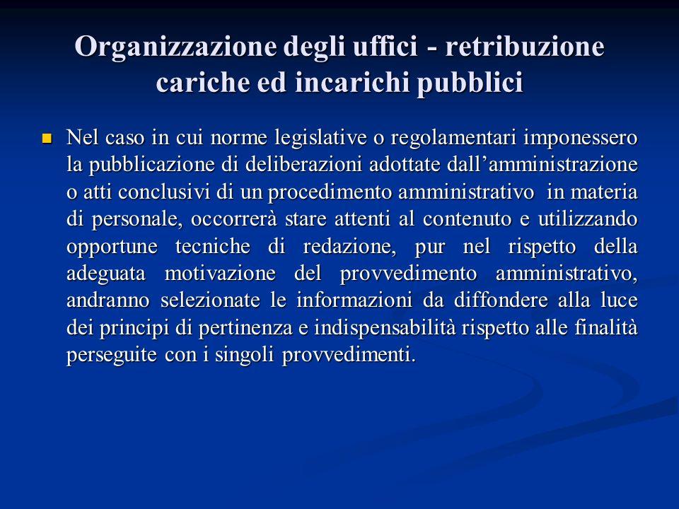 Organizzazione degli uffici - retribuzione cariche ed incarichi pubblici Nel caso in cui norme legislative o regolamentari imponessero la pubblicazion