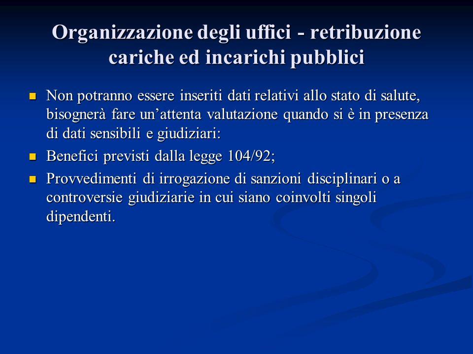 Organizzazione degli uffici - retribuzione cariche ed incarichi pubblici Non potranno essere inseriti dati relativi allo stato di salute, bisognerà fa
