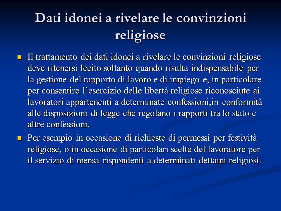 Dati idonei a rivelare le convinzioni religiose Il trattamento dei dati idonei a rivelare le convinzioni religiose deve ritenersi lecito soltanto quan