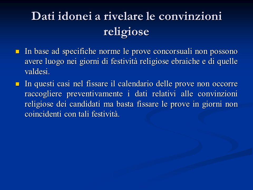 Dati idonei a rivelare le convinzioni religiose In base ad specifiche norme le prove concorsuali non possono avere luogo nei giorni di festività relig