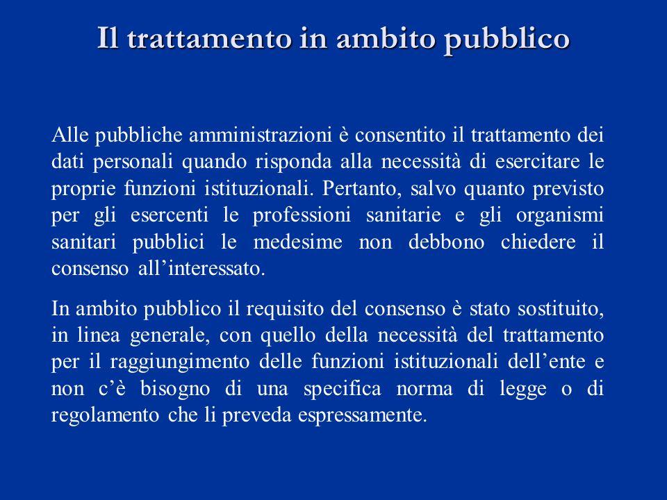 Il trattamento in ambito pubblico Alle pubbliche amministrazioni è consentito il trattamento dei dati personali quando risponda alla necessità di eser