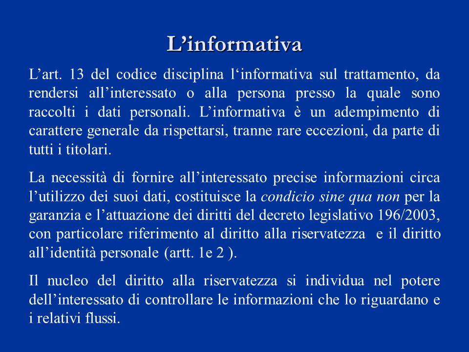 Linformativa Lart. 13 del codice disciplina linformativa sul trattamento, da rendersi allinteressato o alla persona presso la quale sono raccolti i da