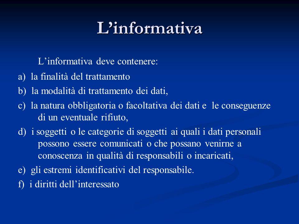 Linformativa Linformativa deve contenere: a) la finalità del trattamento b) la modalità di trattamento dei dati, c) la natura obbligatoria o facoltati