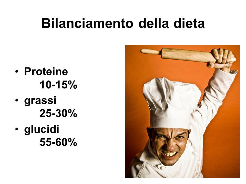 Bilanciamento della dieta Proteine 10-15% grassi 25-30% glucidi 55-60%