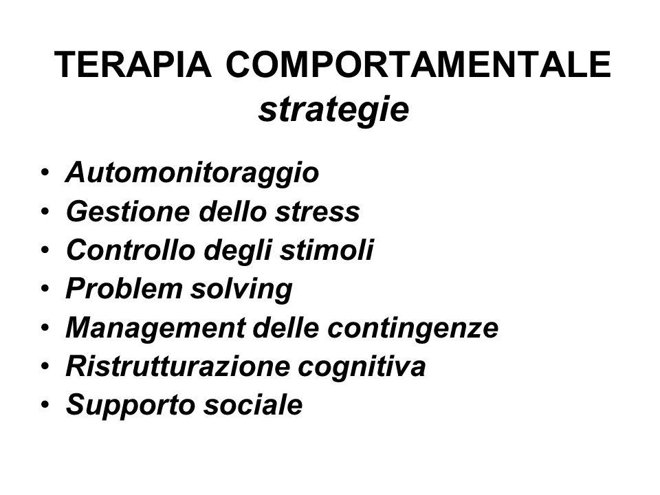 TERAPIA COMPORTAMENTALE strategie Automonitoraggio Gestione dello stress Controllo degli stimoli Problem solving Management delle contingenze Ristrutt
