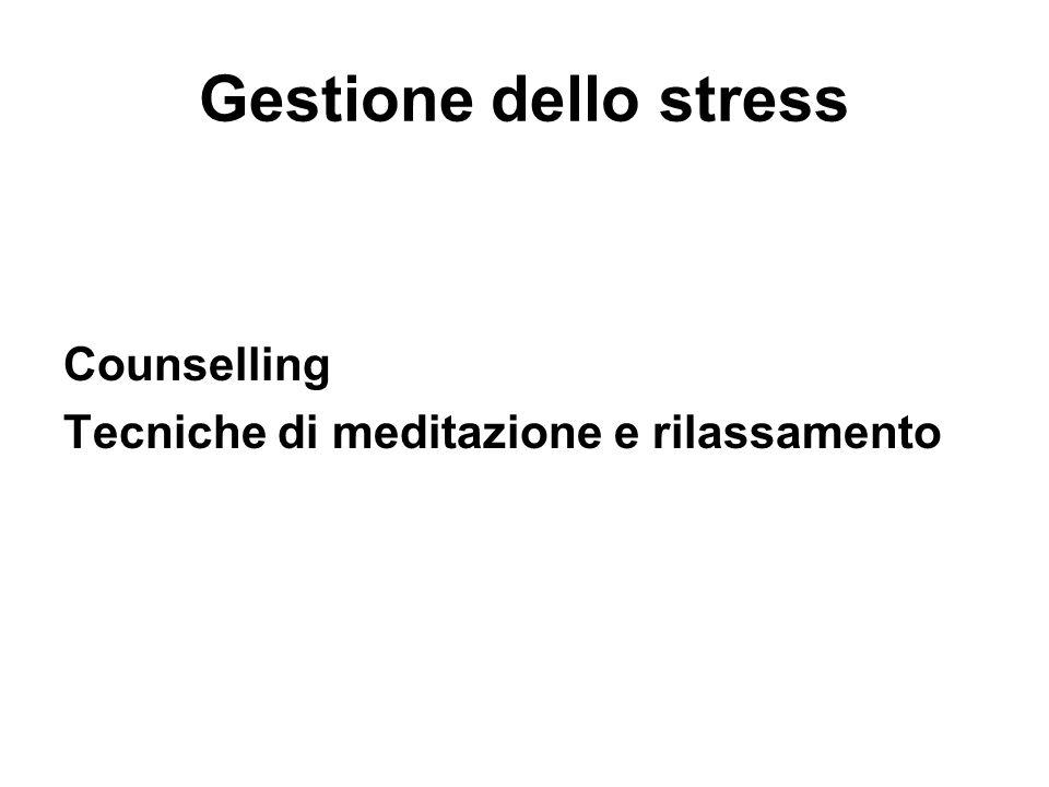 Gestione dello stress Counselling Tecniche di meditazione e rilassamento