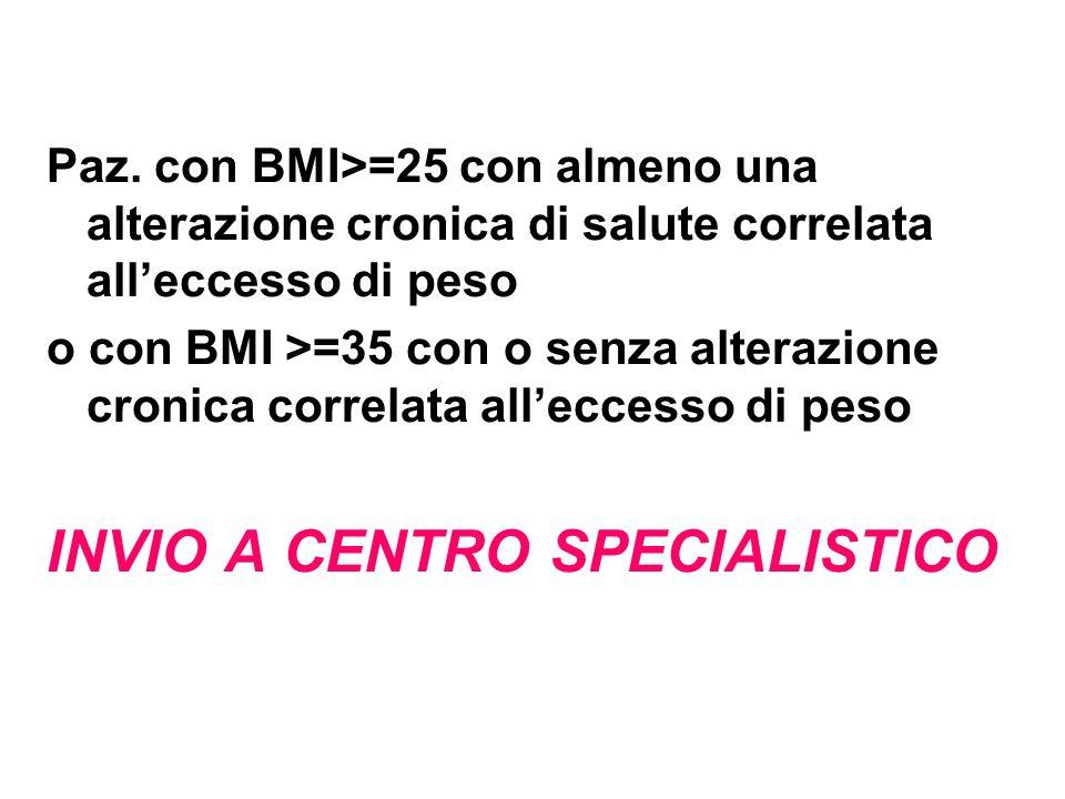 Paz. con BMI>=25 con almeno una alterazione cronica di salute correlata alleccesso di peso o con BMI >=35 con o senza alterazione cronica correlata al