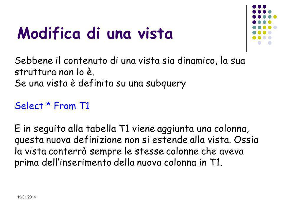19/01/2014 Modifica di una vista Sebbene il contenuto di una vista sia dinamico, la sua struttura non lo è.