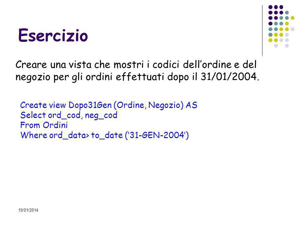 19/01/2014 Esercizio Creare una vista che mostri i codici dellordine e del negozio per gli ordini effettuati dopo il 31/01/2004.