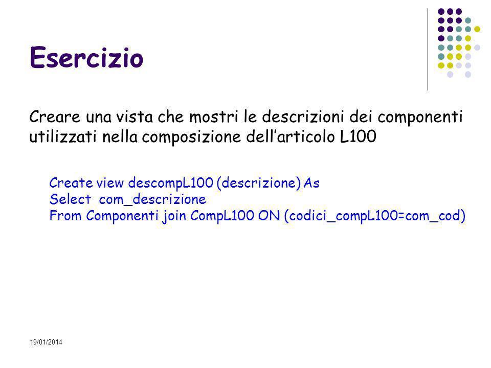 19/01/2014 Esercizio Creare una vista che mostri le descrizioni dei componenti utilizzati nella composizione dellarticolo L100 Create view descompL100 (descrizione) As Select com_descrizione From Componenti join CompL100 ON (codici_compL100=com_cod)