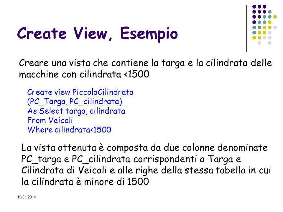 19/01/2014 Esercizio Creare una vista che calcoli i codici dei componenti utilizzati nella composizione dellarticolo L100 Create view compL100 (codici_compL100) AS Select com_cod From compart Where art_cod=L100
