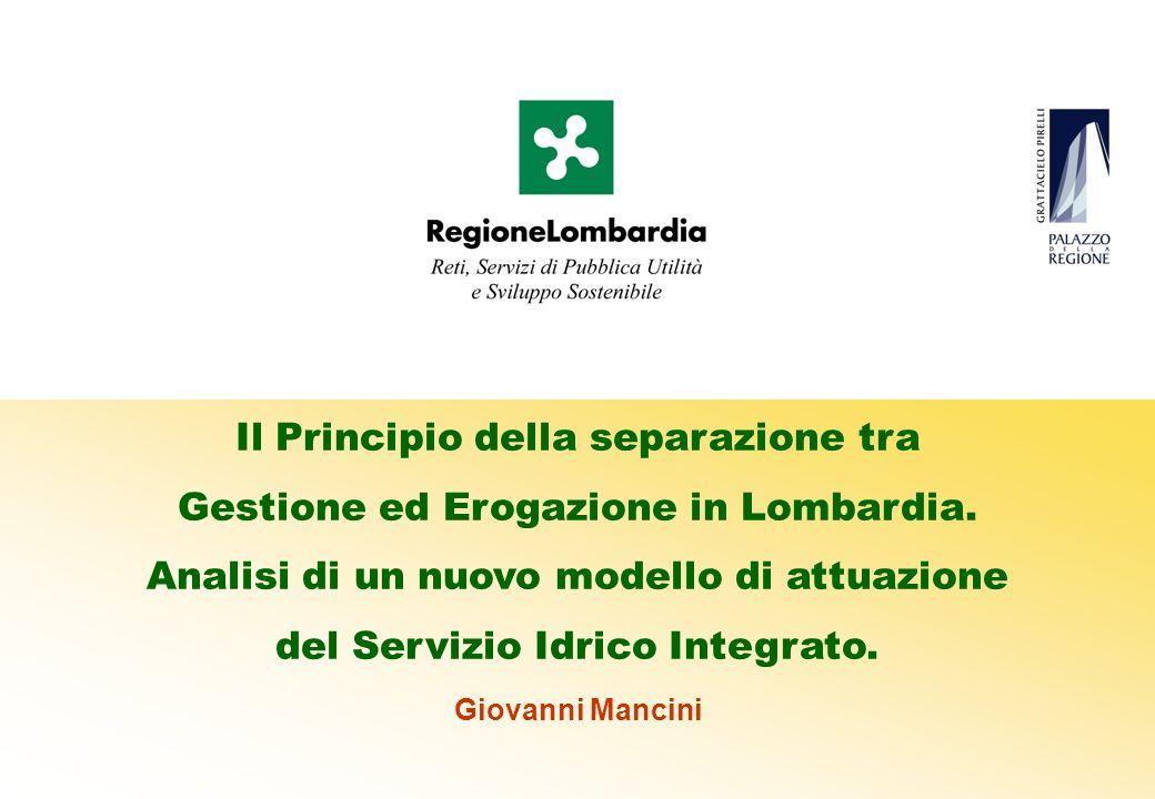 Il Principio della separazione tra Gestione ed Erogazione in Lombardia.