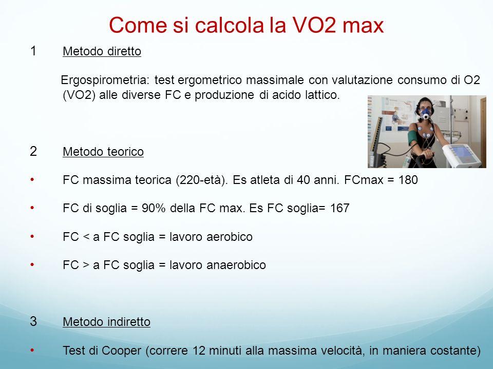 Come si calcola la VO2 max Metodo diretto Ergospirometria: test ergometrico massimale con valutazione consumo di O2 (VO2) alle diverse FC e produzione di acido lattico.