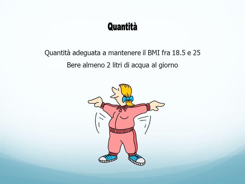 Quantità adeguata a mantenere il BMI fra 18.5 e 25 Bere almeno 2 litri di acqua al giorno
