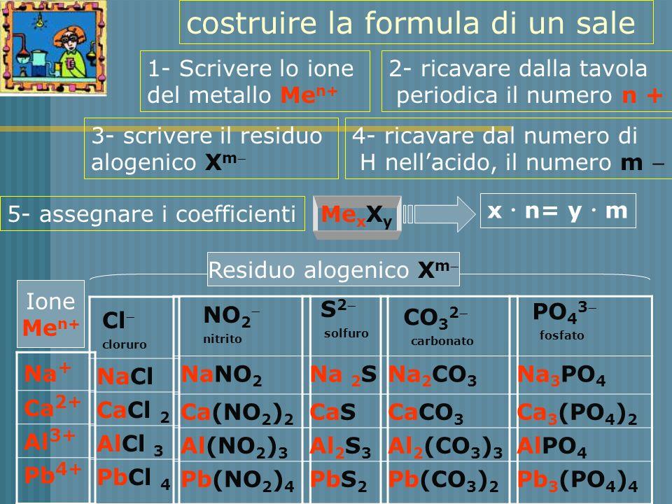costruire la formula di un sale Na + Ca 2+ Al 3+ Pb 4+ NaCl CaCl 2 AlCl 3 PbCl 4 NaNO 2 Ca(NO 2 ) 2 Al(NO 2 ) 3 Pb(NO 2 ) 4 Na 2 S CaS Al 2 S 3 PbS 2