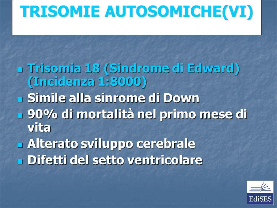 TRISOMIE AUTOSOMICHE(VI) Trisomia 18 (Sindrome di Edward) (Incidenza 1:8000) Trisomia 18 (Sindrome di Edward) (Incidenza 1:8000) Simile alla sinrome di Down Simile alla sinrome di Down 90% di mortalità nel primo mese di vita 90% di mortalità nel primo mese di vita Alterato sviluppo cerebrale Alterato sviluppo cerebrale Difetti del setto ventricolare Difetti del setto ventricolare