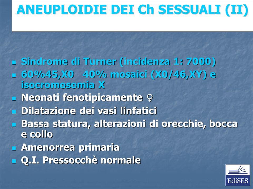 Martini – Fondamenti di Anatomia e Fisiologia – Capitolo 15 ANEUPLOIDIE DEI Ch SESSUALI (II) Sindrome di Turner (incidenza 1: 7000) Sindrome di Turner (incidenza 1: 7000) 60%45,X0 40% mosaici (X0/46,XY) e isocromosomia X 60%45,X0 40% mosaici (X0/46,XY) e isocromosomia X Neonati fenotipicamente Neonati fenotipicamente Dilatazione dei vasi linfatici Dilatazione dei vasi linfatici Bassa statura, alterazioni di orecchie, bocca e collo Bassa statura, alterazioni di orecchie, bocca e collo Amenorrea primaria Amenorrea primaria Q.I.