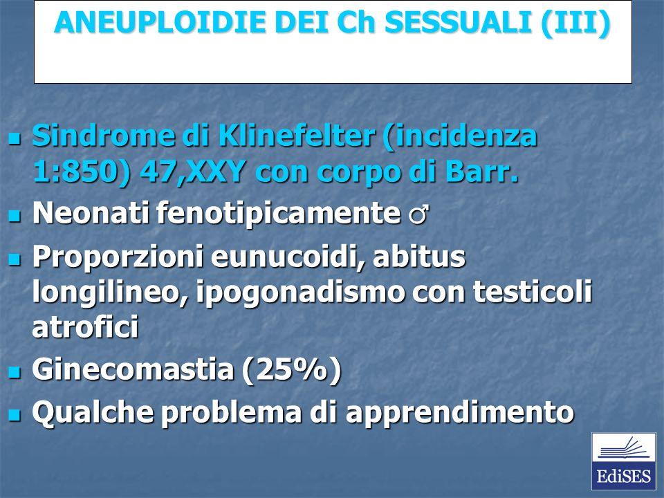 Martini – Fondamenti di Anatomia e Fisiologia – Capitolo 15 ANEUPLOIDIE DEI Ch SESSUALI (III) Sindrome di Klinefelter (incidenza 1:850) 47,XXY con corpo di Barr.