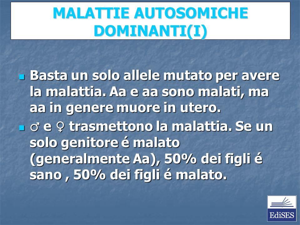 Martini – Fondamenti di Anatomia e Fisiologia – Capitolo 15 MALATTIE AUTOSOMICHE DOMINANTI(I) Basta un solo allele mutato per avere la malattia.