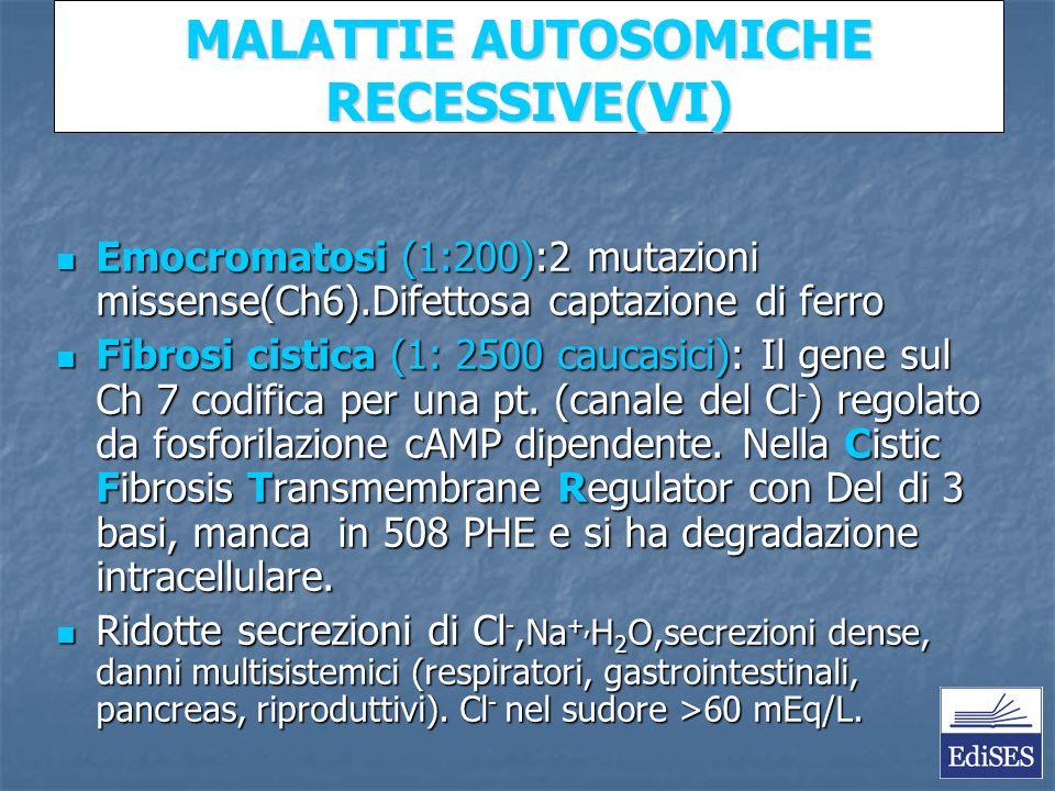 Martini – Fondamenti di Anatomia e Fisiologia – Capitolo 15 MALATTIE AUTOSOMICHE RECESSIVE(VI) Emocromatosi (1:200):2 mutazioni missense(Ch6).Difettosa captazione di ferro Emocromatosi (1:200):2 mutazioni missense(Ch6).Difettosa captazione di ferro Fibrosi cistica (1: 2500 caucasici): Il gene sul Ch 7 codifica per una pt.