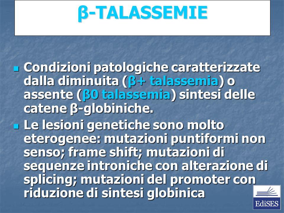 Martini – Fondamenti di Anatomia e Fisiologia – Capitolo 15 β-TALASSEMIE Condizioni patologiche caratterizzate dalla diminuita (β+ talassemia) o assente (β0 talassemia) sintesi delle catene β-globiniche.
