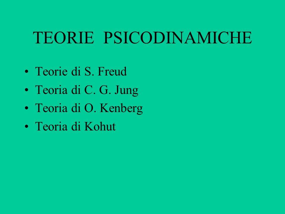 TEORIE PSICODINAMICHE Teorie di S. Freud Teoria di C. G. Jung Teoria di O. Kenberg Teoria di Kohut