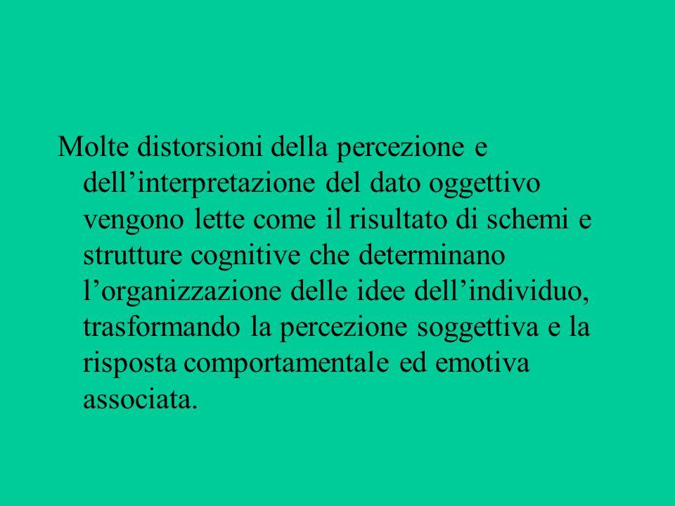 Molte distorsioni della percezione e dellinterpretazione del dato oggettivo vengono lette come il risultato di schemi e strutture cognitive che determ