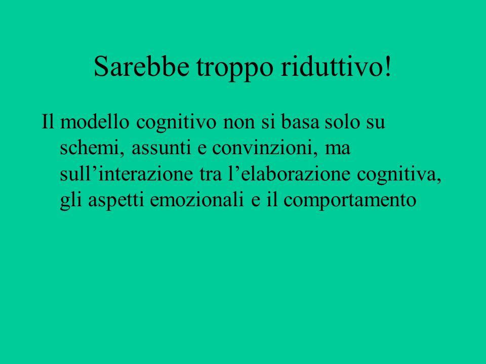 Sarebbe troppo riduttivo! Il modello cognitivo non si basa solo su schemi, assunti e convinzioni, ma sullinterazione tra lelaborazione cognitiva, gli