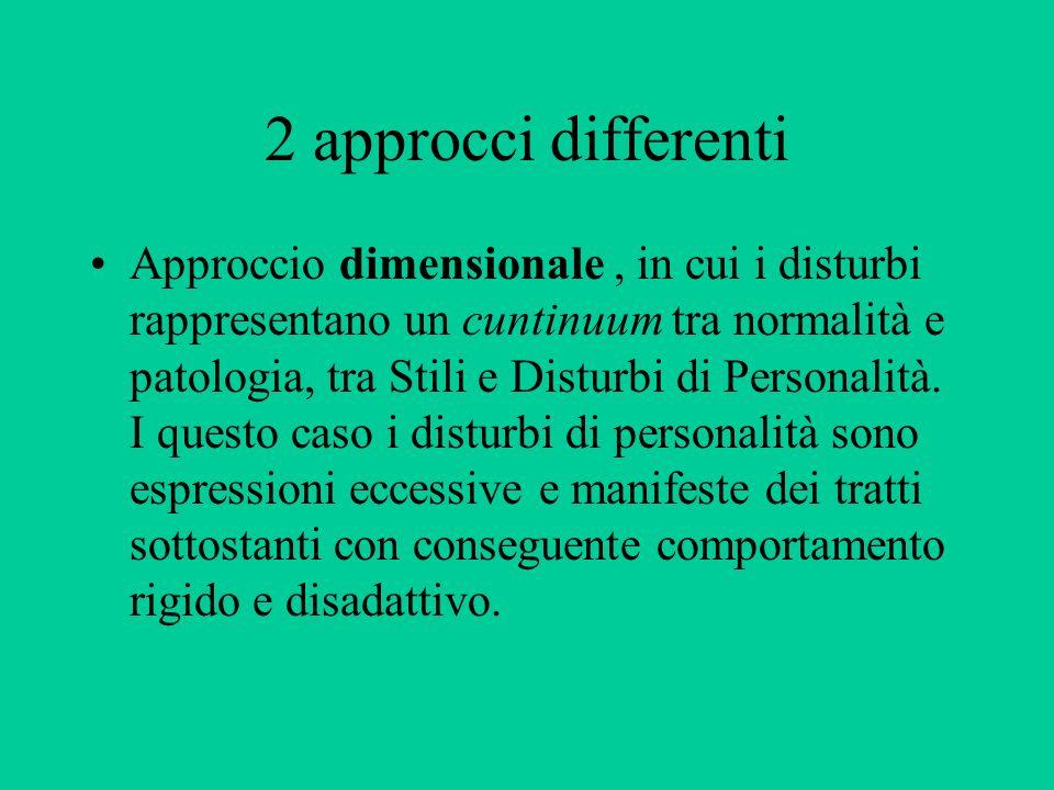 2 approcci differenti Approccio dimensionale, in cui i disturbi rappresentano un cuntinuum tra normalità e patologia, tra Stili e Disturbi di Personal