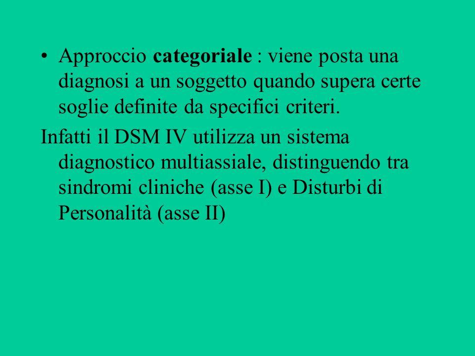 Approccio categoriale : viene posta una diagnosi a un soggetto quando supera certe soglie definite da specifici criteri. Infatti il DSM IV utilizza un