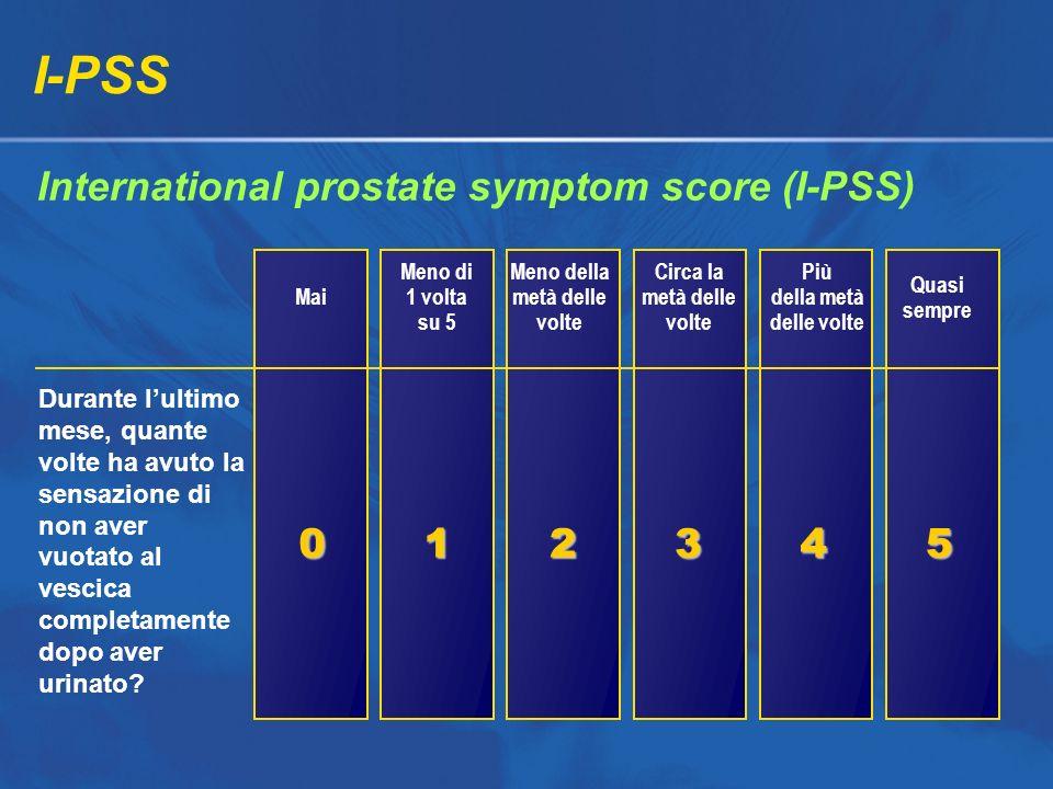 I-PSS International prostate symptom score (I-PSS) Mai Meno di 1 volta su 5 Meno della metà delle volte Circa la metà delle volte Più della metà delle