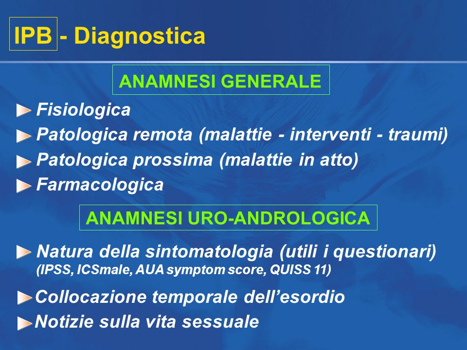 Collocazione temporale dellesordio Notizie sulla vita sessuale IPB - Diagnostica ANAMNESI GENERALE Fisiologica Patologica remota (malattie - intervent