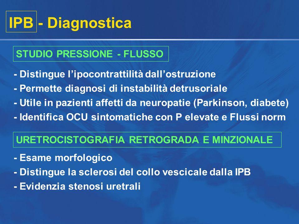 IPB - Diagnostica STUDIO PRESSIONE - FLUSSO - Distingue lipocontrattilità dallostruzione - Permette diagnosi di instabilità detrusoriale - Utile in pa