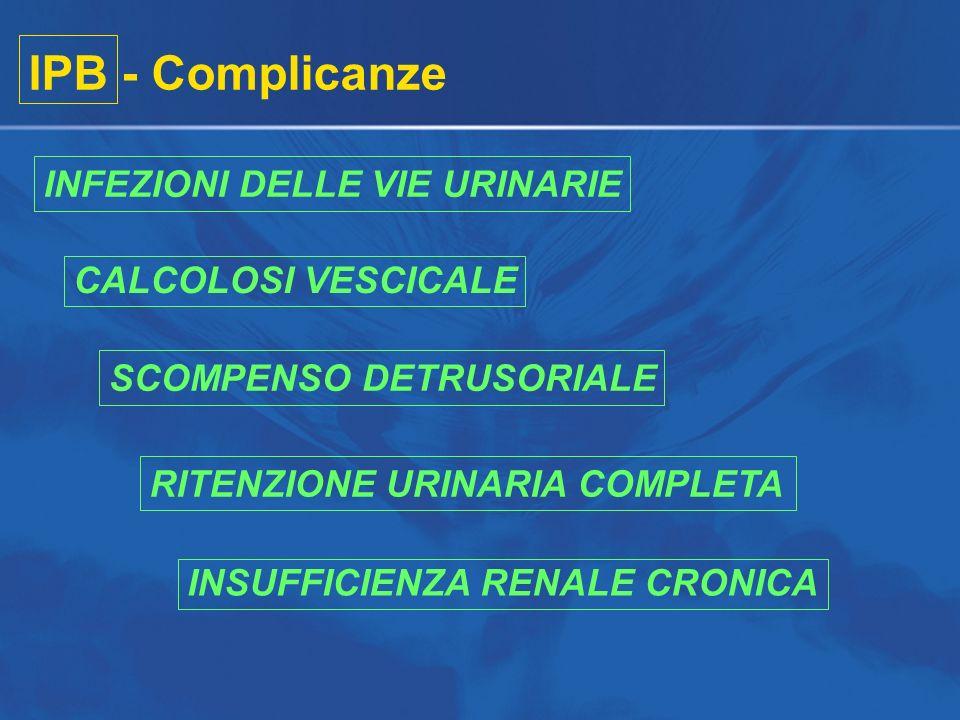 IPB - Complicanze INFEZIONI DELLE VIE URINARIE CALCOLOSI VESCICALE SCOMPENSO DETRUSORIALE RITENZIONE URINARIA COMPLETA INSUFFICIENZA RENALE CRONICA