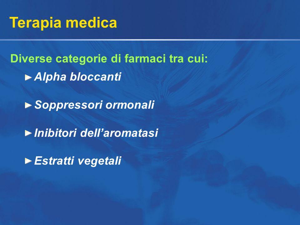Terapia medica Diverse categorie di farmaci tra cui: Alpha bloccanti Soppressori ormonali Inibitori dellaromatasi Estratti vegetali