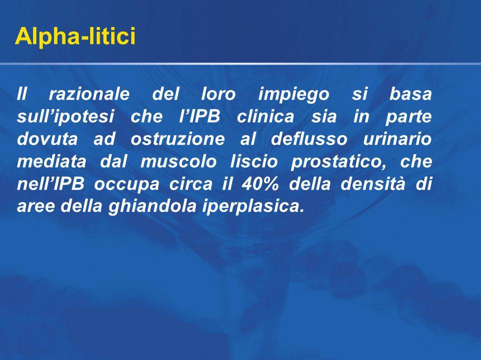 Alpha-litici Il razionale del loro impiego si basa sullipotesi che lIPB clinica sia in parte dovuta ad ostruzione al deflusso urinario mediata dal mus