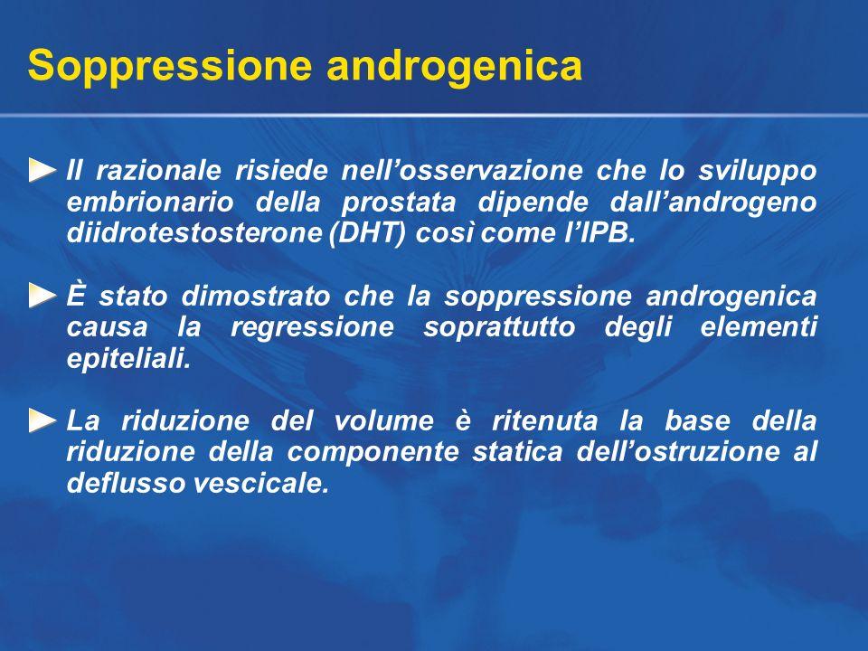 Soppressione androgenica Il razionale risiede nellosservazione che lo sviluppo embrionario della prostata dipende dallandrogeno diidrotestosterone (DH