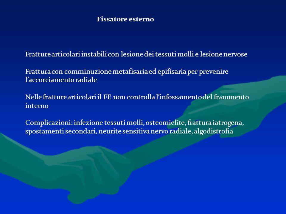 Fissatore esterno Fratture articolari instabili con lesione dei tessuti molli e lesione nervose Frattura con comminuzione metafisaria ed epifisaria pe