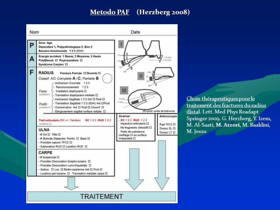 Metodo PAF (Herzberg 2008) Choix thérapeutiques pour le traitement des fractures du radius distal. Lett. Med Phys Readapt Springer 2009. G. Herzberg,