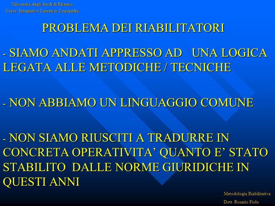 PROBLEMA DEI RIABILITATORI - SIAMO ANDATI APPRESSO AD UNA LOGICA LEGATA ALLE METODICHE / TECNICHE - NON ABBIAMO UN LINGUAGGIO COMUNE - NON SIAMO RIUSCITI A TRADURRE IN CONCRETA OPERATIVITA QUANTO E STATO STABILITO DALLE NORME GIURIDICHE IN QUESTI ANNI Università degli Studi di Palermo Corso Integrativo Laurea in Logopedia Metodologia Riabilitativa Dott.