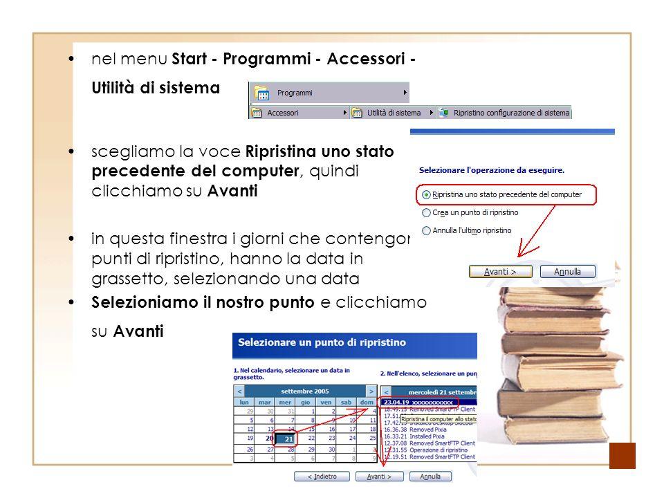 nel menu Start - Programmi - Accessori - Utilità di sistema scegliamo la voce Ripristina uno stato precedente del computer, quindi clicchiamo su Avanti in questa finestra i giorni che contengono i punti di ripristino, hanno la data in grassetto, selezionando una data Selezioniamo il nostro punto e clicchiamo su Avanti