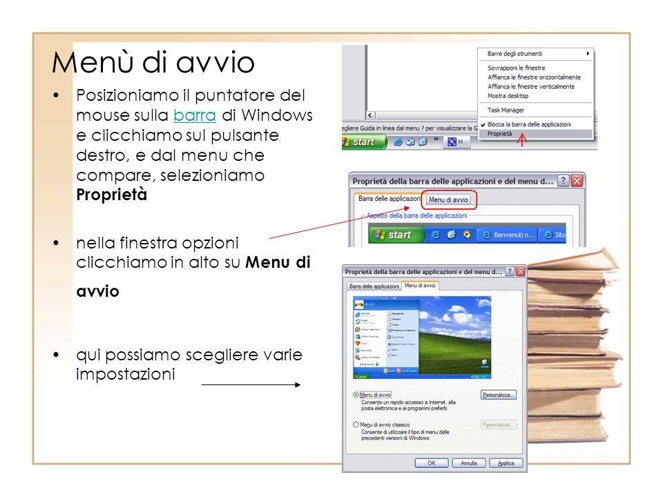 Menù di avvio Posizioniamo il puntatore del mouse sulla barra di Windows e clicchiamo sul pulsante destro, e dal menu che compare, selezioniamo Proprietàbarra nella finestra opzioni clicchiamo in alto su Menu di avvio qui possiamo scegliere varie impostazioni
