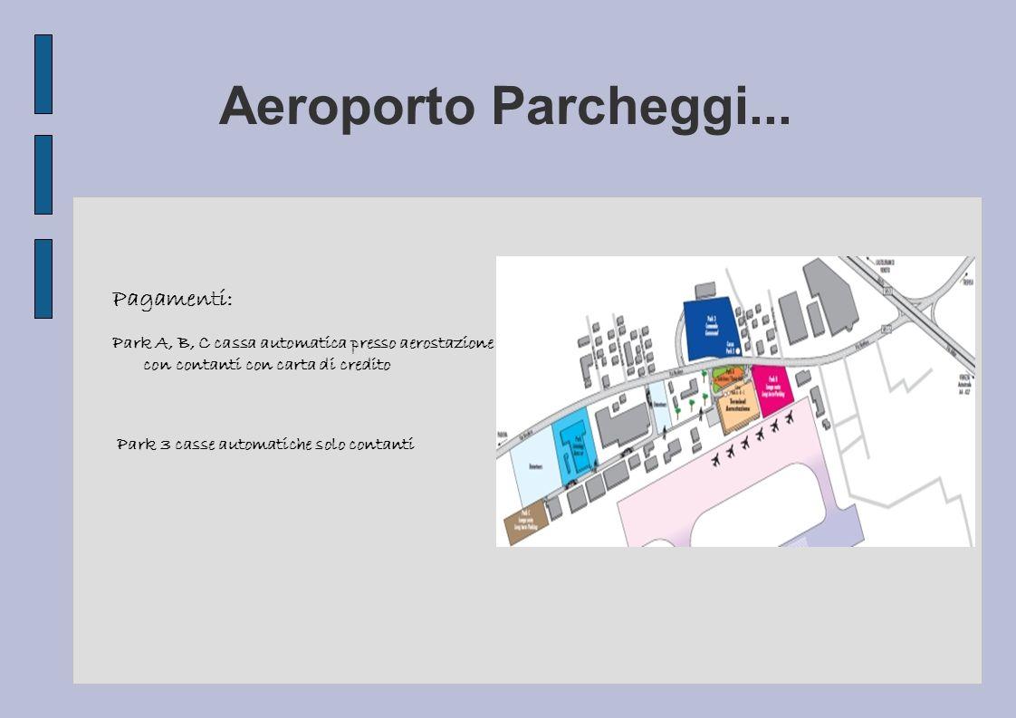Aeroporto Parcheggi... Pagamenti: Park A, B, C cassa automatica presso aerostazione con contanti con carta di credito Park 3 casse automatiche solo co