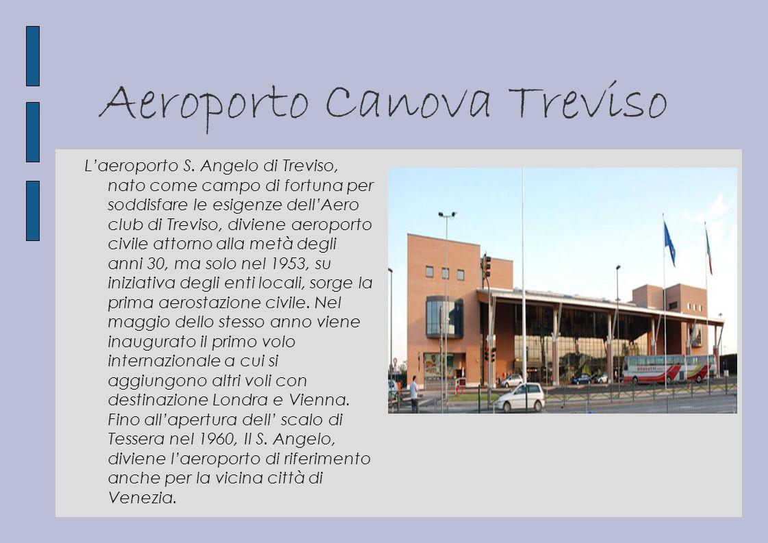 Aeroporto Canova Treviso Laeroporto S. Angelo di Treviso, nato come campo di fortuna per soddisfare le esigenze dellAero club di Treviso, diviene aero