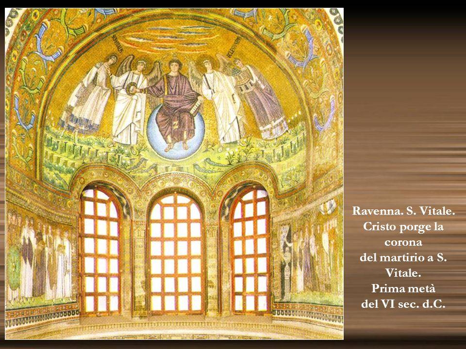 Ravenna. S. Vitale. Cristo porge la corona del martirio a S. Vitale. Prima metà del VI sec. d.C.