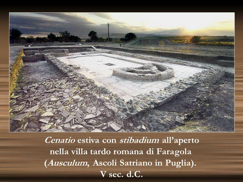Cenatio estiva con stibadium allaperto nella villa tardo romana di Faragola (Ausculum, Ascoli Satriano in Puglia). V sec. d.C.
